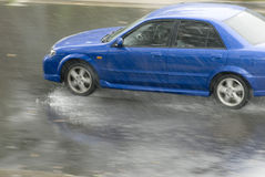 Rainstorm. Driving in dangerous conditions on a wet road Stock Photo