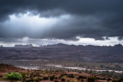 Rainstorm in the Arches National Park Royalty Free Stock Photos