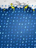Rainstorm background. A blue paper-cut like background of a rainy sky Royalty Free Stock Photos