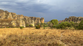 Rainstorm is coming on a yellow rocky desert in Madagascar Stock Photography