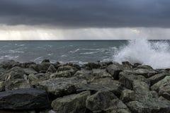 Rainstorm at Nervi (Italy) Stock Photo