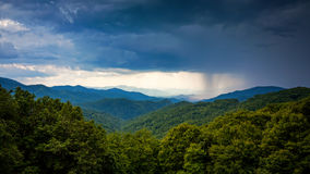Rainstorm Over Appalachian Mountains  From Blue Ridge Parkway in Royalty Free Stock Photo