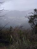 Rainstorm view off mountain stock photography
