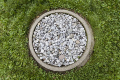 Rainwater catcher. A ring of stones in the garden to catch the rain water from the drip rail Royalty Free Stock Photography