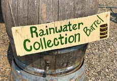Rainwater collection barrel stock photography