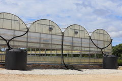 Rainwater Collection System. A couple of rain water collection tanks used to catch rain water off of a greenhouse Stock Image