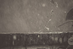 Rain on the walls look beautiful, which is after the rebound. Rainwater falling on the wall to rebound, a beautiful background. Vintage picture style Stock Photos