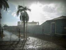 Rainy afternoon in town Trinidad, Cuba. Colonial Plaza Mayor, Trinidad, Cuba Royalty Free Stock Photos