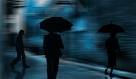 Rainy Alleyway. Three people in an alleyway when raining royalty free illustration