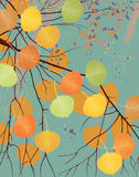 Rainy autumn. Vector illustration of aspen tree branch with autumn leaves on background of rainy dark blue sky Royalty Free Stock Photography