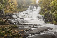 Rainy Autumn Day at Rensselaerville Falls royalty free stock images