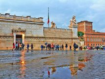 Rainy autumn evening in Rome stock photography