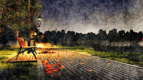 Rainy autumn night in park watercolor landscape. Decorative watercolor autumn landscape with empty bench on a pavement park walkway lit by street lights at dark vector illustration