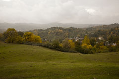 Rainy autumn over village Royalty Free Stock Photos