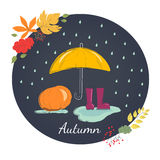 Rainy autumn with rubber boots. Season of rains. Royalty Free Stock Photos