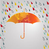 Rainy autumn with  umbrella. Season of rains.rain Royalty Free Stock Photography