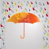 Rainy autumn with  umbrella. Season of rains.rain Royalty Free Stock Photography