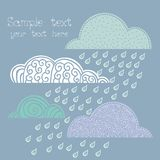 Rainy autumnal pattern with clouds Royalty Free Stock Photo