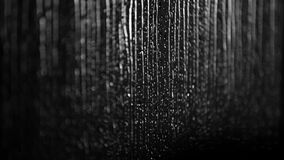 Rainy black and white background: raindrops dripping down the window