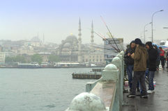 Rainy Bosphorus bridge view royalty free stock images