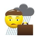 Rainy Business Man Emoticon Royalty Free Stock Image