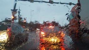 Rainy city from car royalty free stock photo