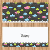 Rainy clouds brochure template. Cute flyer design. Vector image Royalty Free Stock Photos