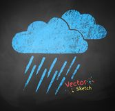 Rainy clouds. Color chalked vector illustration of rainy clouds Stock Image
