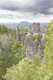 Rainy clouds over Bastei bridge. Royalty Free Stock Photo