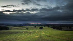Rainy Clouds over British Countryside Fields in Autumn stock footage