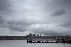 Rainy clouds over Hudson River. Aftermath of Hurricane Sandy, New York City Stock Image