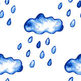 Rainy clouds seamless pattern. Abstract seamless pattern with hand drawn rainy clouds in watercolor style, design element. Can be used for invitations, cards Royalty Free Stock Photos