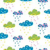 Rainy clouds seamless vector pattern. Bright childish style sky background texture for print Stock Photos