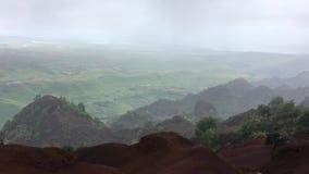 Rainy and cloudy day in Waimea Canyon on Kauai Island in Hawaii. stock footage