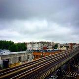Rainy Commuting. Subway train track on a rainy day Royalty Free Stock Photography