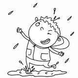 Rainy and cute boy coloring and white background Royalty Free Stock Photos