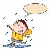 Rainy and cute boy speaking and white background Royalty Free Stock Photos