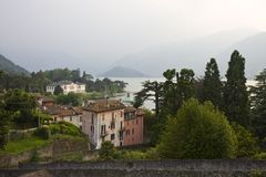 Rainy day. View of Lake Como and mountines, Bellagio, Italy Stock Photos