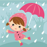 Rainy day. Illustration of cute girl with umbrella