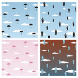 Rainy Day. Vector illustration of business concept-business men and umbrellas  falling from sky like rain Stock Images