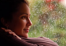 Rainy Day. Woman Relaxing During Rain