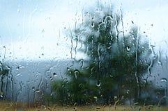 Rainy day. View of outdoors through rainy window royalty free stock image