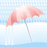 Rainy day. With pink umbrella and raindrops Royalty Free Stock Images