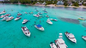 Cayman Island Rum point. Rainy day, aerial picture of the Rum Point beach in Grand Cayman Island Stock Photography