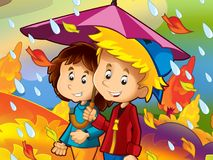 The rainy day in autumn. The happy and colorful illustration for the children Stock Photo