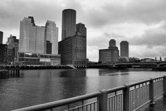 Rainy day in Boston. Boston Buildings and river on cloudy day stock images