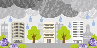 Rainy day on building city Royalty Free Stock Photography