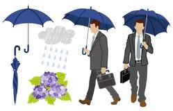 Rainy day Businessman set Royalty Free Stock Photography