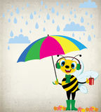 A Rainy Day-Cartoon Bee. In autumn season funny cartoon bee holding its umbrella and hot coffee on a rainy day stock illustration
