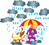 Rainy Day. A cartoon illustration of a girl with an umbrella taking her dog for a walk in the rain, shes wearing a purple Mack and Wellington boots,and is Royalty Free Stock Photos